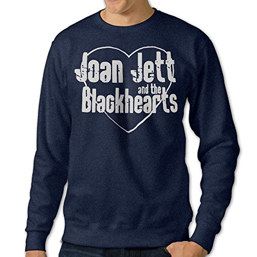 [ReBorn Men's Pullover Joan Rock Jett Long Sleeve Tshirts Crewneck Sweatshirt Navy 3X] (Joan Jett Wigs)