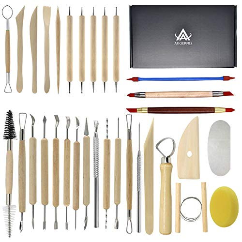 (Augernis Pottery Sculpting Tools 32PCS Ceramic Clay Carving Tools Set for Beginners Expert Art Crafts Kid's After School Pottery Classes Club Children Students )