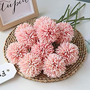 Homyu Artificial Flowers Chrysanthemum Ball Flowers Bouquet 10pcs Present for Important People Glorious Moral for Home Office Coffee House Parties and Wedding No Craft Paper(Light Pink) 11