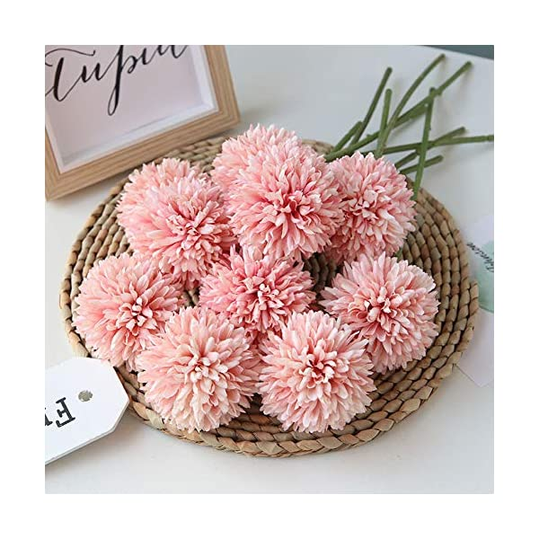 Homyu Artificial Flowers Chrysanthemum Ball Flowers Bouquet 10pcs Present for Important People Glorious Moral for Home Office Coffee House Parties and Wedding(Light Pink)