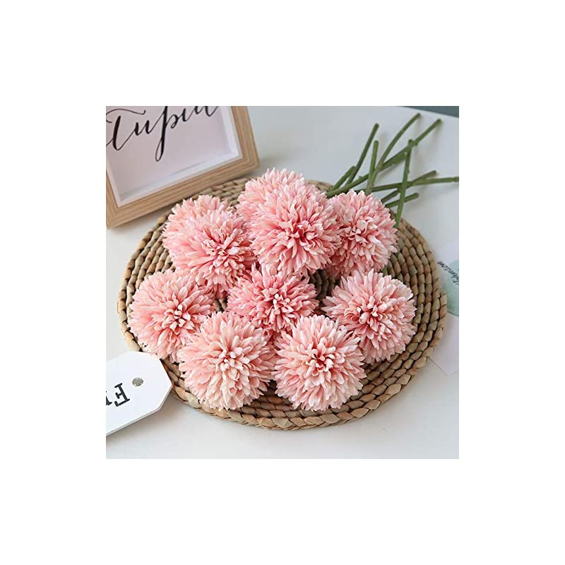silk flower arrangements homyu artificial flowers chrysanthemum ball flowers bouquet 10pcs present for important people glorious moral for home office coffee house parties and wedding(light pink)