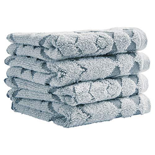 Stone & Beam Flora Jacquard Cotton Washcloth Set, Set of 4, Regatta Blue ()