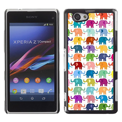 Licase Hard Protective Case Skin Cover - Colorful Kids Pattern - Sony Xperia Z1 Compact