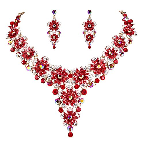 Gold Red Necklace Crystal (BriLove Wedding Bridal Necklace Earrings Jewelry Set Crystal Multi Hibiscus Flower Statement Necklace Dangle Earrings Set Ruby Color Gold-Toned)