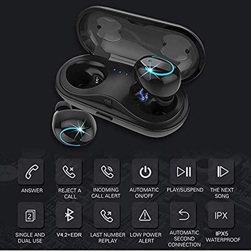 AW-SJ Q18 スポーツスピーカー ワイヤレスイヤホン Bluetooth 4.2 両耳ヘッドフォン マイク付き インイヤーミニイヤホン 3Dステレオサウンド 充電ケース付き IPX5 防水 Android/iPhone ホワイト   B07NWH8MVD