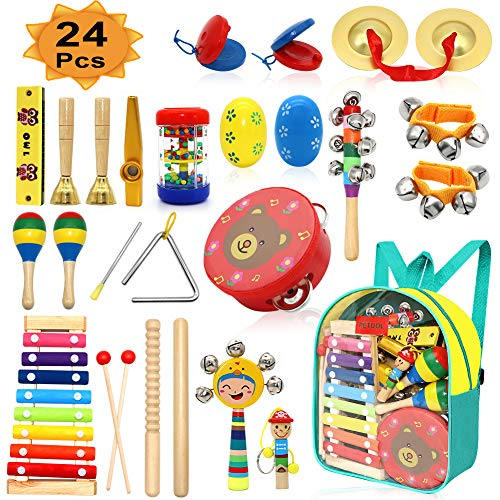 PETUOL Kids Musical Instruments 24pcs Wood Percussion Xylophone Toys for Children Musical Movement-Music Rhythm Percussion Kit for Toddler Boy and Girls ()