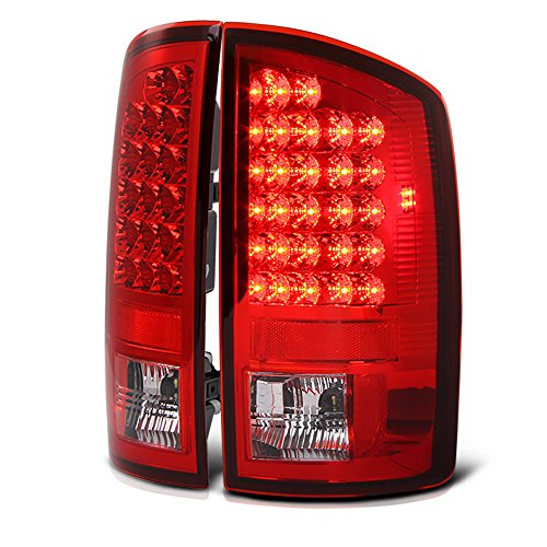 (VIPMOTOZ Red Lens Premium LED Tail Light Housing Lamp Assembly For 2002-2006 Dodge RAM 1500 2500 3500 Pickup Truck Driver and Passenger Side Replacement)
