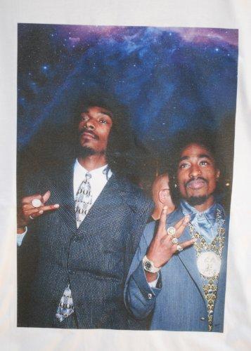 Rapper camiseta con Tupac blanca Dato cuello Space Stars 2pac redondo Snoop real Dogg zRqw6wxF