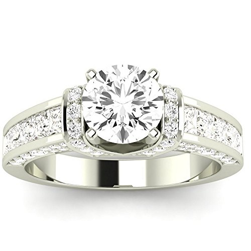 2.4 Cttw Platinum Round Cut Contemporary Channel Set Princess And Pave Round Cut Diamond Engagement Ring with a 1.5 Carat K-L Color I2 Clarity Center
