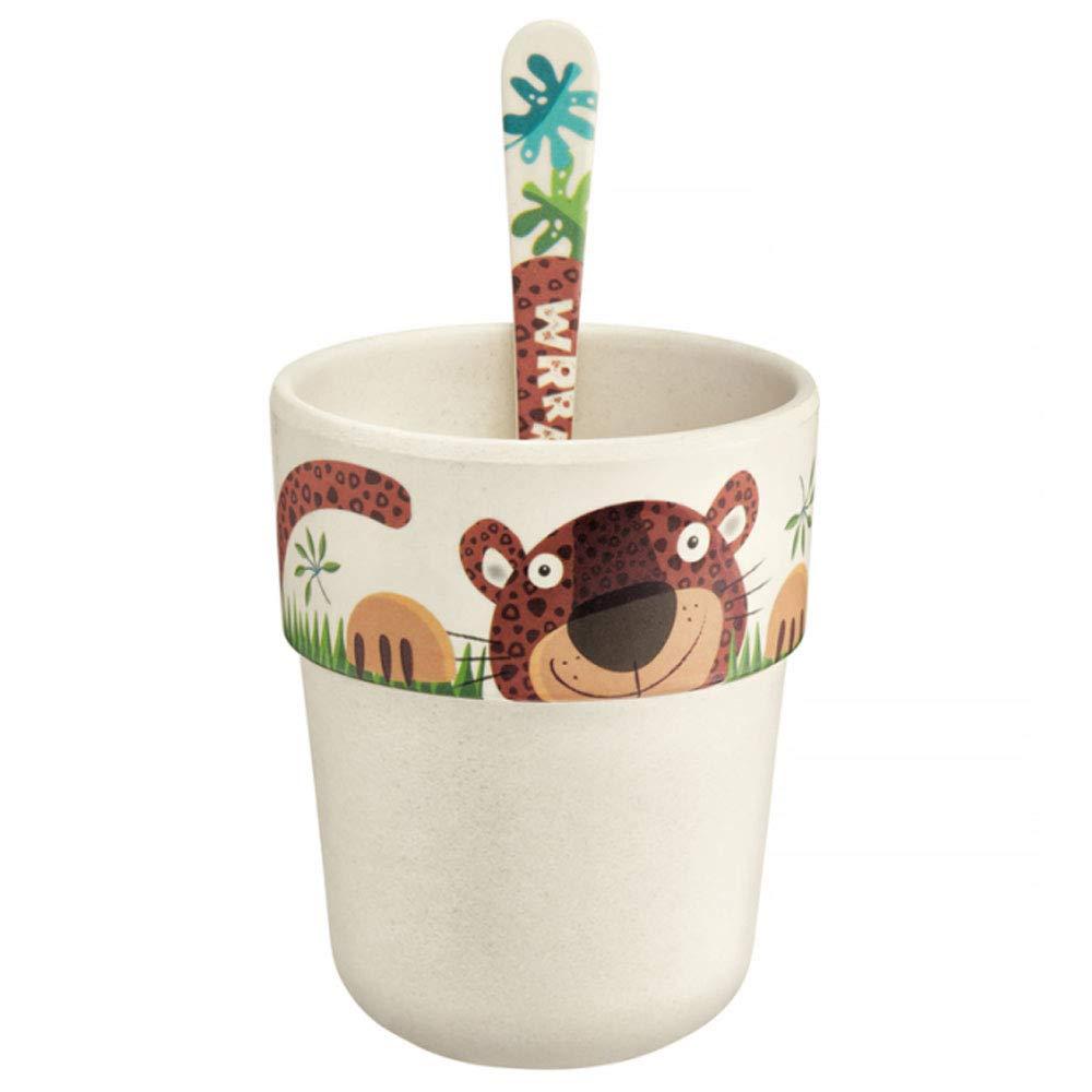 AMBITION Baby Kind Geschirrset Kinder Baby Alex 3 Teilig Bambus Teller Trinkbecher L/öffel Buntes Tiermotiv Tropische Pflanzen Sp/ülmaschinengeeignet Gift