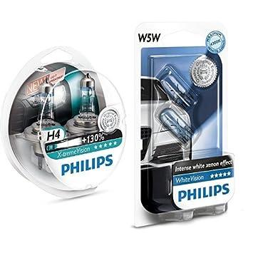 ecd40f0e23d Philips 12342XV+S2 H4 X-Treme Vision +130%, Headlight Car Bulbs (Twin-Pack)  + Philips 12961NBVB2 WhiteVision Halogen Headlamp Bulb W5W, 12 V, ...