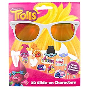 Dreamworks Trolls Kid's Sunglasses with 3D Slide-on Characters White