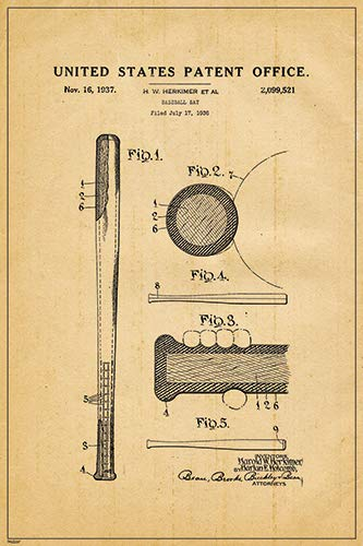 1936 Baseball bat US Patent Blueprint Engineering Technical Drawing Schematic Home Decor Print Poster 24x36 ()