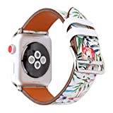 Flower Design Strap for iWatch,38mm 42mm Floral Pattern Printed Leather Wrist Band Apple Watch Link Bracelet for Apple Watch Smartwatch Fitness Tracker Series 2 Series 1 Version (Flamingo 38mm)