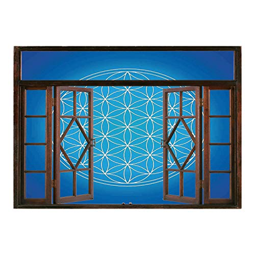 - SCOCICI Window Mural Wall Sticker/Sacred Geometrty Decor,Flower of Life Grid Pattern Consisting of Types Overlapping Circles Theme,Blue/Wall Sticker Mural