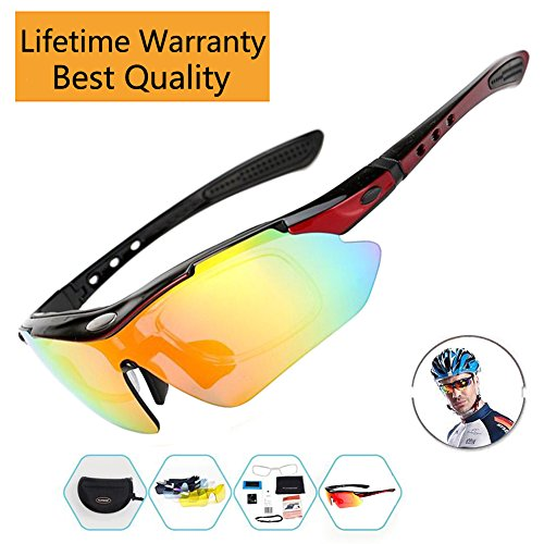 Sports Sunglasses For Men Women Cycling Glasses Polarized Baseball Running Fishing Driving Golf Hunting Biking Hiking With 5 Interchangeable Lenses (Red Frame, 5 - Sunglasses Jabong