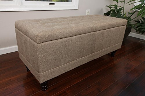Home Life Lift Top Storage Bench with Tufted Accents Chocola