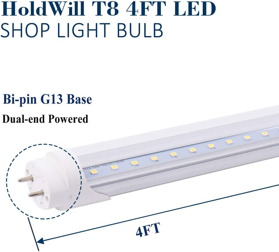 T8 T10 T12 Fluorescent Light Bulbs Replacement with G13 Bi-pin Base 4FT 20W 6000K Clear Cover Ballast Bypass Dual-End Powered HOLDWILL 6 Pack T8 LED Tube Light Bulb