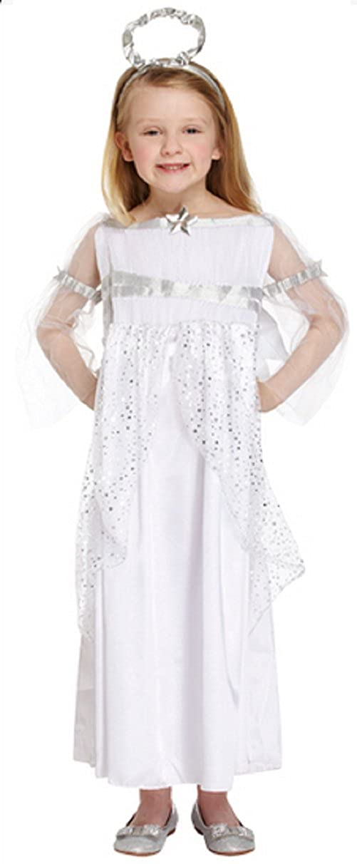 7c707d57d4 Girls Long Full Length White Silver Christmas Angel Fairy Nativity Gabriel  Fancy Dress Costume Outfit Ages 4-12 Years  Amazon.co.uk  Toys   Games