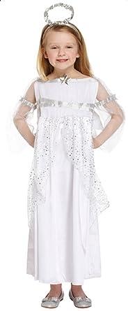 Fille Long Longue Blanc argenté Ange de Noël Fée Nativité Gabriel Costume  Déguisement 4-12 bc2f03ff3e7d
