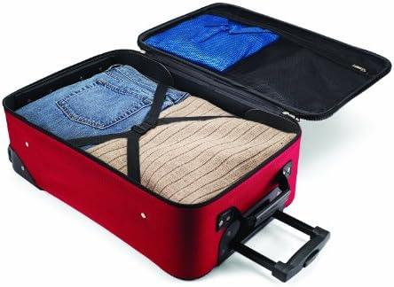 American Tourister Fieldbrook II Softside Upright Luggage Set, Red/Black, 3-Piece (tote/21/25)