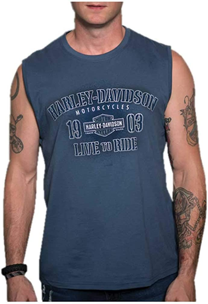 Blue Harley-Davidson Mens Conquests Sleeveless Crew-Neck Muscle Shirt