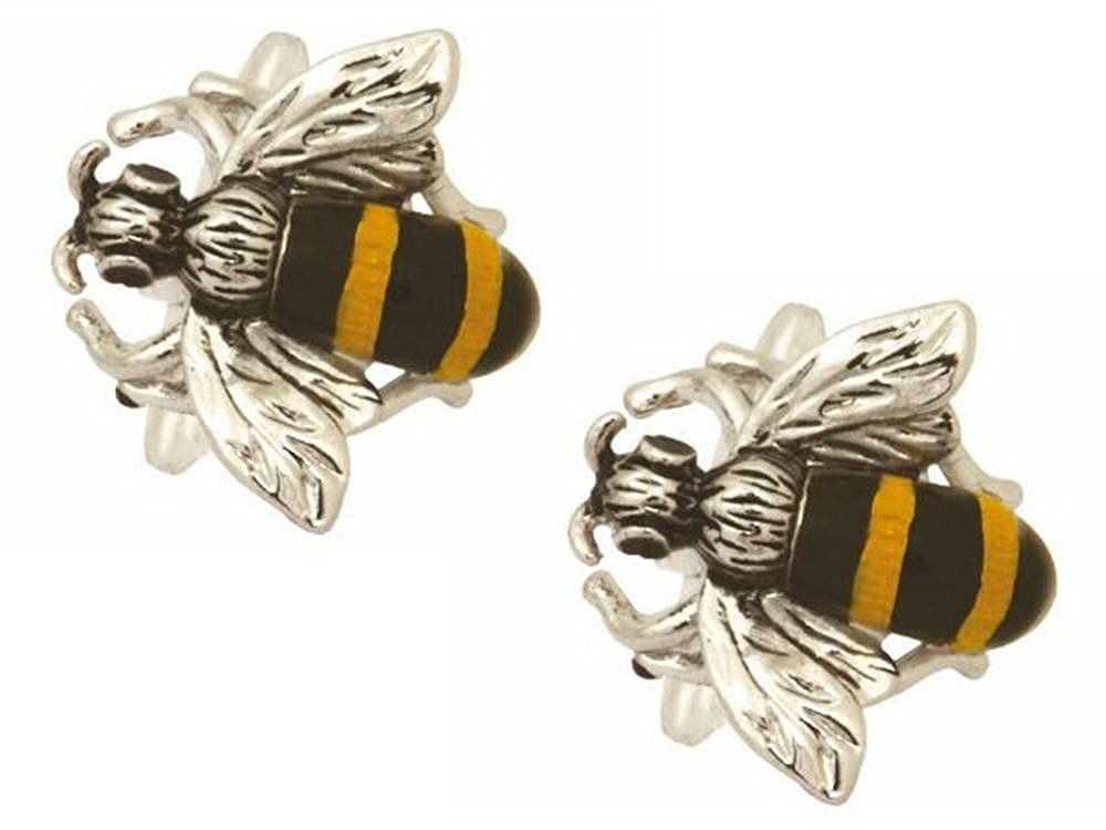 Zennor Mens Bee Cufflinks Silver//Yellow//Black