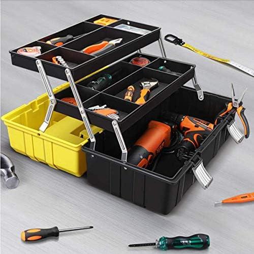 CHUNSHENN ツールボックス 工具箱 以下のために適した家庭用屋外修復ツールストレージボックス、三層折りたたみ多機能ツールボックスイエロー、サイズ42 * 20 * 17.5センチ(カラー:イエロー、サイズ:42 * 20 * 17.5センチ)