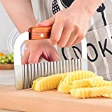 Jooks Blade Potato Chip Cutter Wooden Handle Blade Slicer Crinkle Cutter Tool Stainless Steel Vegetable Crinkle Wavy Cutter Kitchen Tool Silver