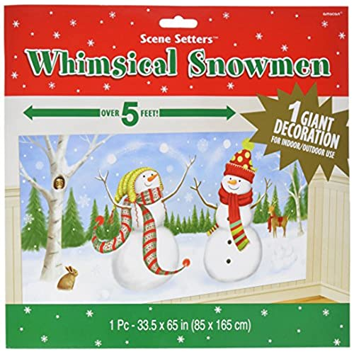 amscan whimsical snowman plastic scene setters add ons wall decoration 335 x 65 party decorations