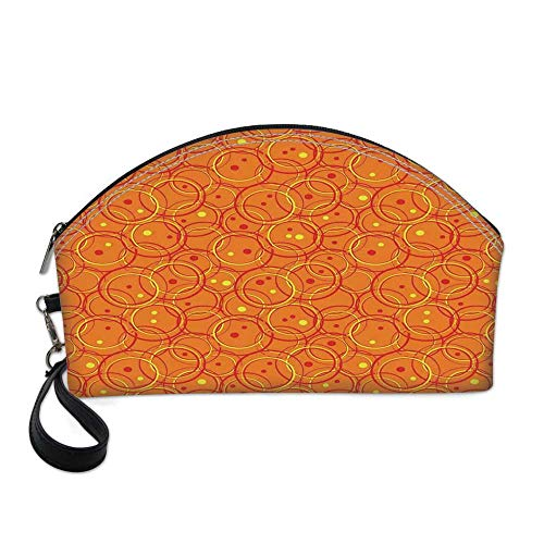 - Burnt Orange Small Portable Cosmetic Bag,Circle Patterns in Fashion Trend Colors on Retro Dotted Background Decorative For Women,One size