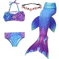 GALLDEALS 3PCS Girls' Swimsuit Mermaid T...