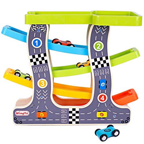 Life&Fun Boys Race Track Wooden Toys Car Ramp Racer Parking Lot Kids Car Toy (Car Race Wooden)