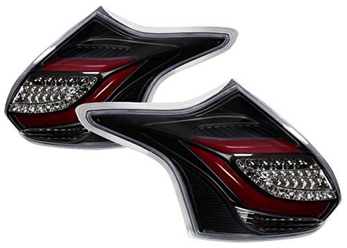 AJP Distributors LED Tail Light Lamp For Ford Focus Hatchback (Black Red)