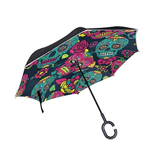Ladninag Day of the Dead Skull Flower Inverted Umbrella, Large Double Layer Outdoor Rain Sun Car Reversible Umbrella