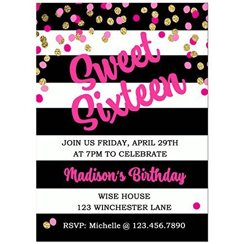 Amazon Black And White Stripe Sweet Sixteen Invitations With