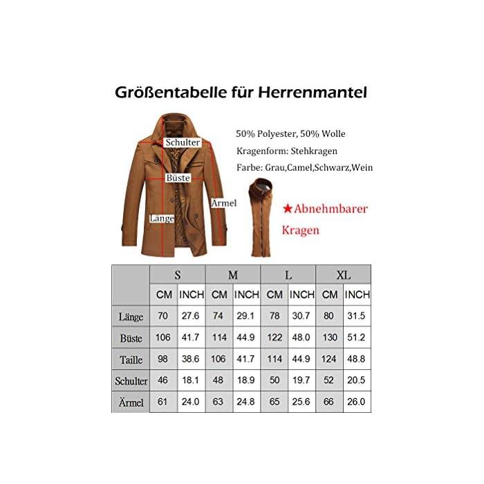 Abrigo de invierno clásico para hombre con cuello alto y varios bolsillos. Chaqueta de manga larga con cierre de botón, diseño sencillo y elegante. 50% Lana, 50% Poliéster