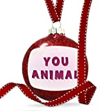 Christmas Decoration You Animal Pink Fuzz Fur Letters Ornament