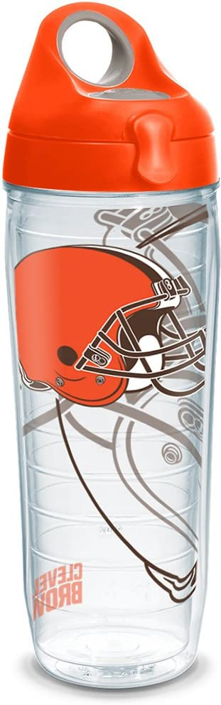 Tervis NFL Cleveland Browns All Over Insulated Tumbler with Wrap and Orange Lid 16oz Clear