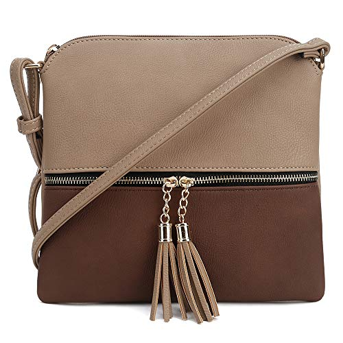 Khaki Brown Bag - SG SUGU Lightweight Medium Crossbody Bag with Tassel and Zipper Pocket (Khaki/Brown)