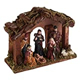 Theme My Party WOODEN STABLE WITH MINIATURE NATIVITY STATUES / CHRISTMAS CRIB