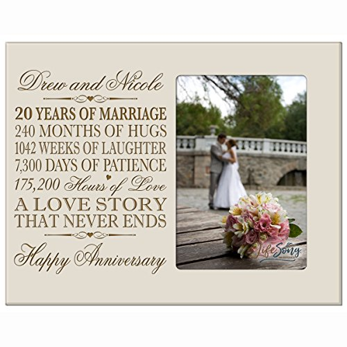Personalized twenty year anniversary gift for her him couple Custom Engraved 20th year wedding anniversary celebration gift frame holds 4x6 photo frame size 10