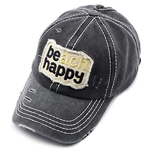C.C Exclusives Hatsandscarf Washed Distressed Cotton Denim Ponytail Hat Adjustable Baseball Cap (BT-762) (Black, Beach Happy)