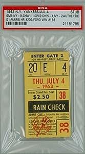 1963 new york yankees ticket stub vs chicago white sox