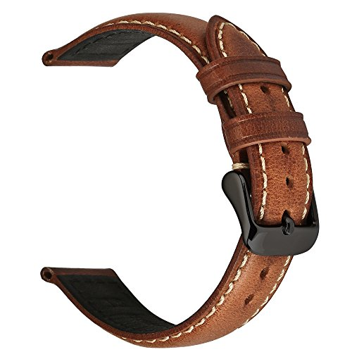 EACHE 18mm Genuine Leather Watch Band Light Brown Oil-tanned Natural Crack Leather Wrist Straps with Black Buckle