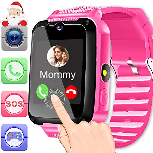 Cell Antenna Flash Phone - Kids Smart Watch Phone Pink for Girls Boys Toddlers with 1.44'' HD Touch Screen 2 Way Call Camera SOS Clock Game Flashlight Wristband Cellphone Watch Christmas Birthday Electronic Learning Gifts