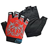 Freehawk Kids Cycling Gloves, Non-Slip Ultrathin Children Half Finger Bicycle Cycling Breathable Gloves Roller-Skating Gloves for Fishing, Cycling, Roller Skating and Climbing in Summer (Red)