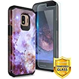 TJS Phone Case for Samsung Galaxy J2 Core/J2 2019/J2 Pure/J2 Dash/J2 Shine, with [Tempered Glass Screen Protector] Dual Layer Hybrid Shockproof Drop Protection Impact Rugged Armor Cover (Stardust)