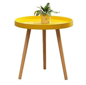 Table basse en bois ronde, table de salon canapé table de salle à ...