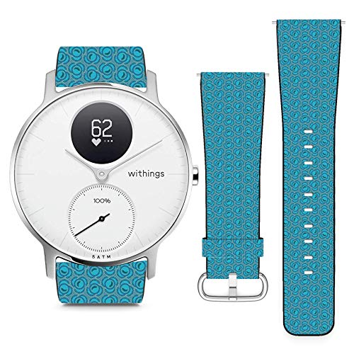 Floral Swirl Pin - Compatible with Withings (Nokia) Steel HR 36mm // 18mm Leather Replacement Bracelet Strap Wristband with Quick Release Pins // Floral Swirl Ornamental